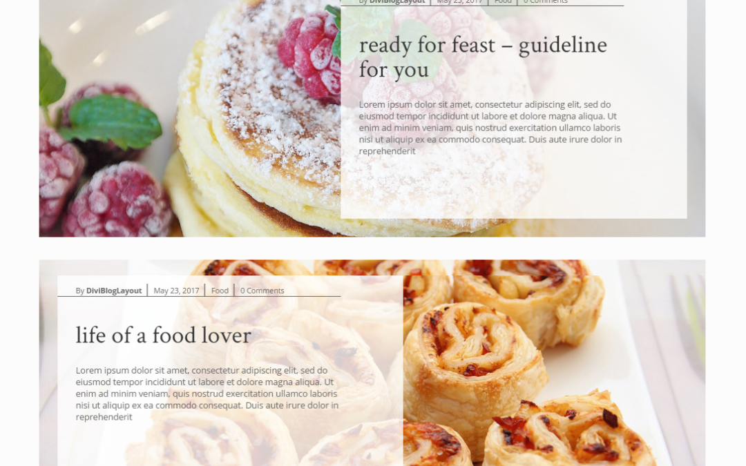 Divi Category Layout for Food Blog